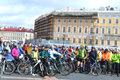 Finish cycling on palace square of st petersburg russia april Stock Photo