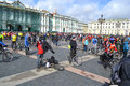 Finish cycling on palace square of st petersburg russia april Royalty Free Stock Photography