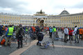 Finish cycling on palace square of st petersburg russia april Stock Image