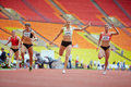 Finish of female race at grand sports arena moscow jun luzhniki oc during international athletics competitions iaaf world Stock Images