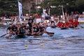 Finish line of a boat marathon on the Neretva River Royalty Free Stock Photo
