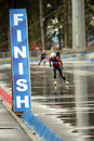 Finish line on rbu championship of russia in the summer biathlon in sochi september september female prosecution Stock Images