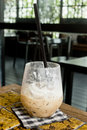 Finished ice banana mocha closeup in glass Royalty Free Stock Image