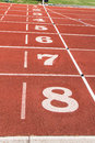 Finishing line the on a sports track Royalty Free Stock Image