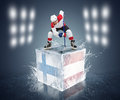 Finland austria tournament game ready for face off player on the ice cube Royalty Free Stock Photography
