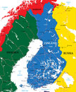 Finland map highly detailed vector of with administrative regions main cities and roads Royalty Free Stock Images