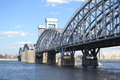Finland railway bridge at sunny day st petersburg russia Stock Photos