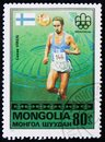 Finland runner Lasse Liren, from series `Olympic Games, Montreal - Gold Medal Winners`, circa 1976 Royalty Free Stock Photo