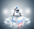Finland russia quaterfinal game face off player on the ice Stock Image