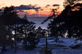 Finland winter sunset by the baltic sea on the southern coast of Stock Photography