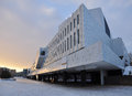 Finlandia hall modern architecture helsinki finland by finnish architect alvar aalto winter view Royalty Free Stock Photo