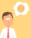 Finnancial thoughts businessman always thinking of money Royalty Free Stock Photo