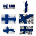 Finnish flag collage Stock Photo