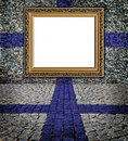 Finnish flag style Elegant frame on the wall Royalty Free Stock Photo