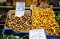 Finnish grown shiitake and chanterelles on sale in a market Royalty Free Stock Image