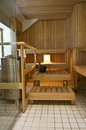 Finnish hotel sauna wooden with a wooden bench electric heater and scoop Stock Photo