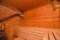 Finnish sauna interior of wooden Stock Photography