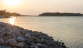 Finnish sunset at the west coast of finland in naantali Stock Photos