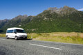 Fiordland new zealand campervan trip in Stock Photo