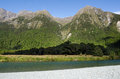 Fiordland new zealand landscape of eglinton river in Stock Photo
