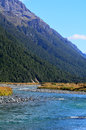 Fiordland new zealand landscape of eglinton river in Stock Photography