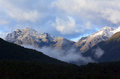 Fiordland new zealand landscape of mountains with snow in Stock Image