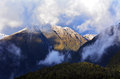 Fiordland new zealand landscape of mountains with snow in Royalty Free Stock Photo