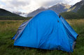 Fiordland new zealand one tent in campsite in Royalty Free Stock Photo