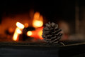Fir cone near the fire place Royalty Free Stock Photo