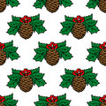 Fir cone seamless pattern background for holiday design Royalty Free Stock Photography