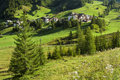 Fir foreground back ground village nestled green valley Stock Images