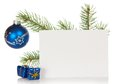 Fir tree branch with a christmas toy and card souvenirs isolated on white Stock Photo