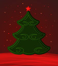 Fir tree christmas card with green on red background Stock Image