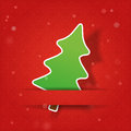 Fir tree on a red snowly background christmas Royalty Free Stock Photos