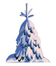 Fir tree in snow on white background illustration Royalty Free Stock Images