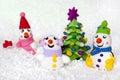 Fir-tree and snowmen.