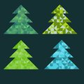 Fir trees set with triangles Royalty Free Stock Photos