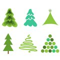 Fir trees simple new year collection Stock Photo