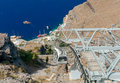 Fira. The cable car to the top. Royalty Free Stock Photo
