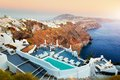 Fira, the capital of Santorini island, Greece at sunset Royalty Free Stock Photo