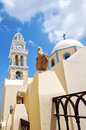 Fira catholic cathedral on santorini Royalty Free Stock Photo