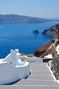 Fira classical greek architecture with caldera background in firostefani santorini island Royalty Free Stock Images