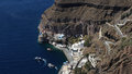 Fira old port of capital city of santorini island is built on the rim of collapsed volcano access to m high above port is Stock Photos