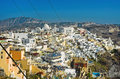 Fira panorama at santorini greece aerial Royalty Free Stock Photos
