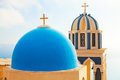 Fira santorini famous church in at sunset Royalty Free Stock Photo
