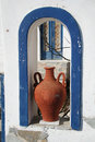 Fira santorini greece an amphora replica in town island Royalty Free Stock Photography