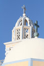 Fira santorini greece a church tower in town island Stock Image