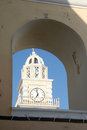 Fira santorini greece a church tower in town island Royalty Free Stock Photos