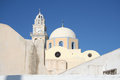 Fira santorini greece a church tower in town island Royalty Free Stock Image
