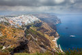 Fira santorini greece overlooking the principal town of europe Royalty Free Stock Image